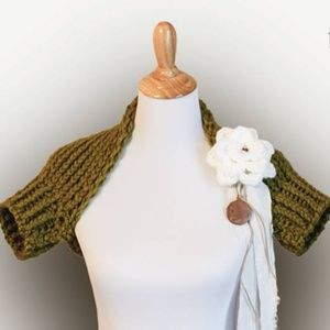 Handmade Knitted Shrug in Olive Green